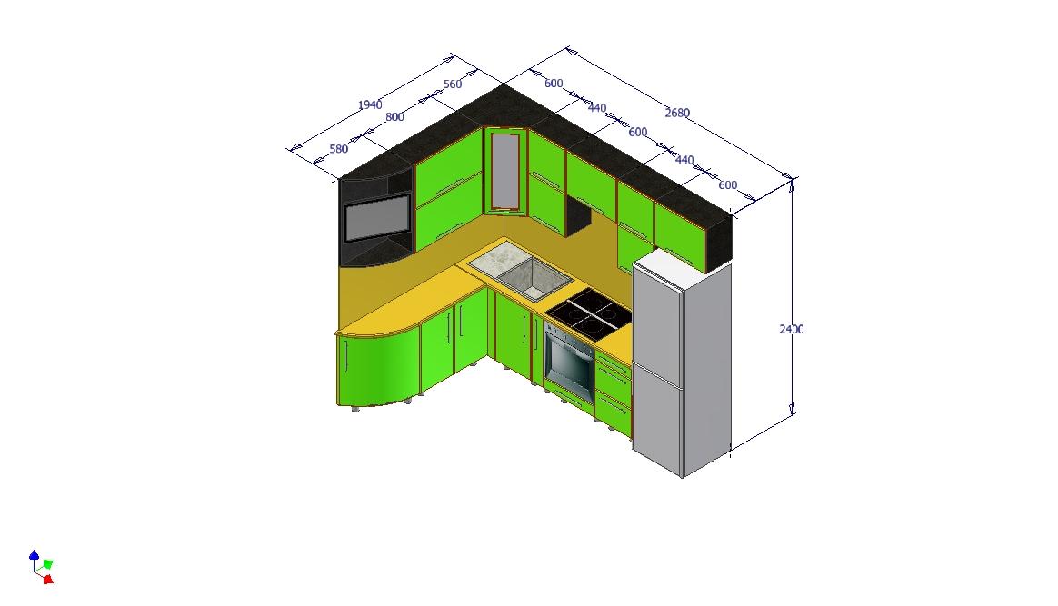 Проект кухни Ирина вид 6 с размерами