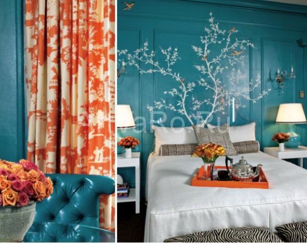 оранжево голубая палитра Дизайн интерьера в оранжево голубой палитре