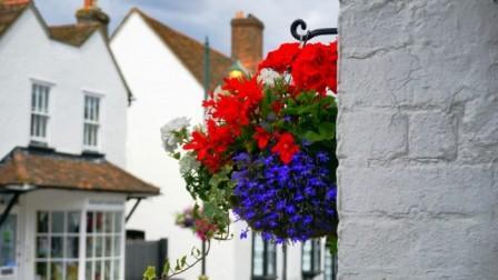 Угол дома с цветами на уютной улочке